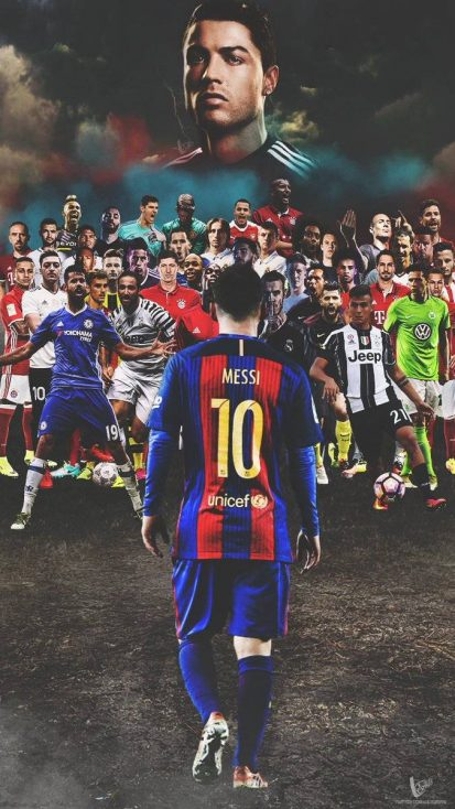 Cristiano Ronaldo and Lionel Messi Football Players iPhone Wallpaper