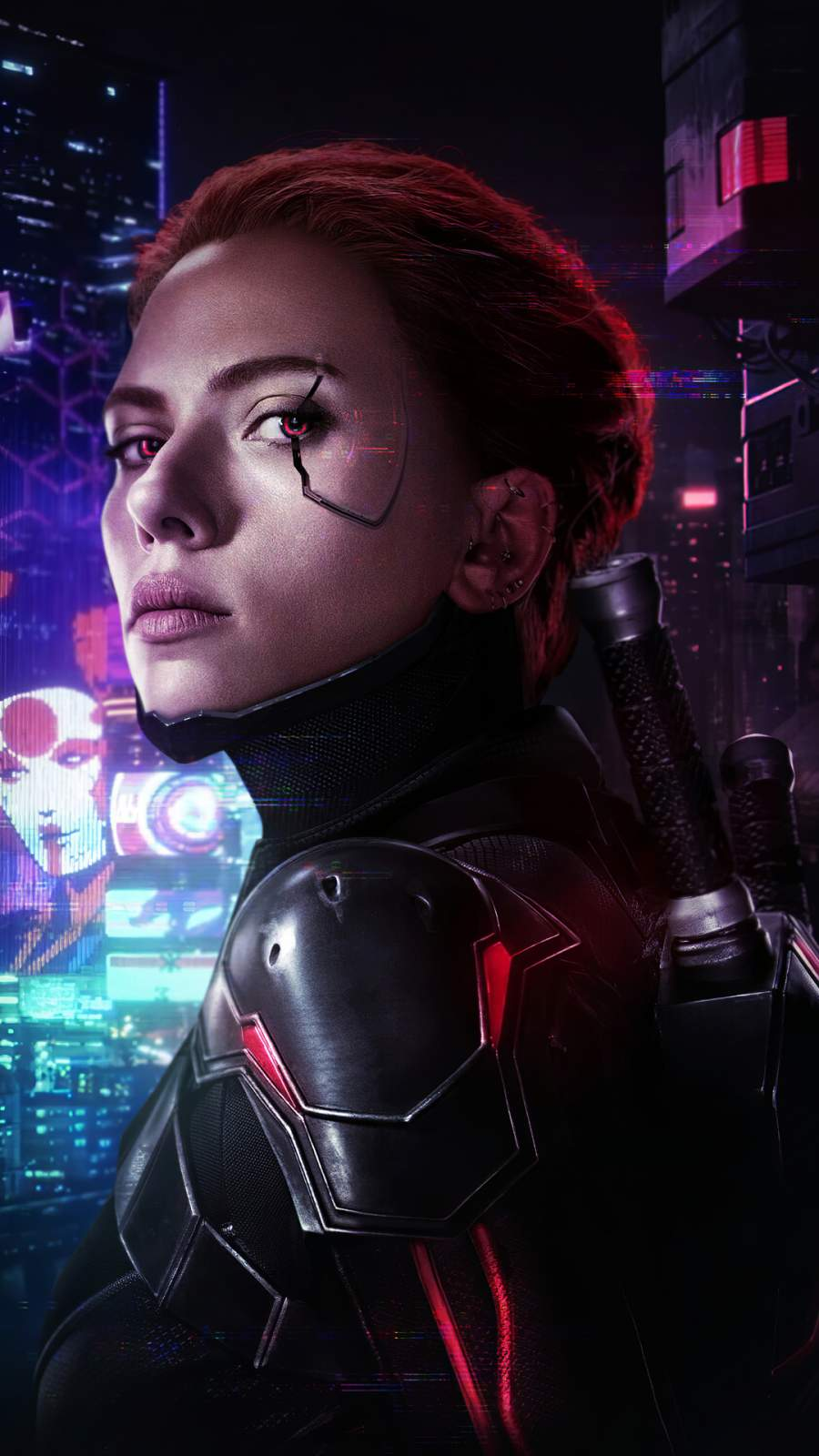 Cyberpunk Black Widow iPhone Wallpaper