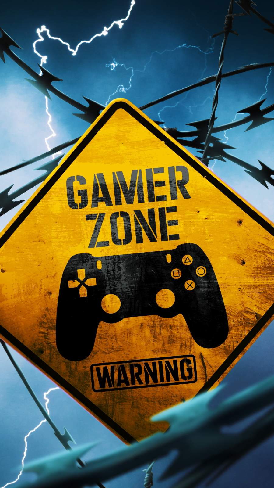 Gamer Zone Warning iPhone Wallpaper
