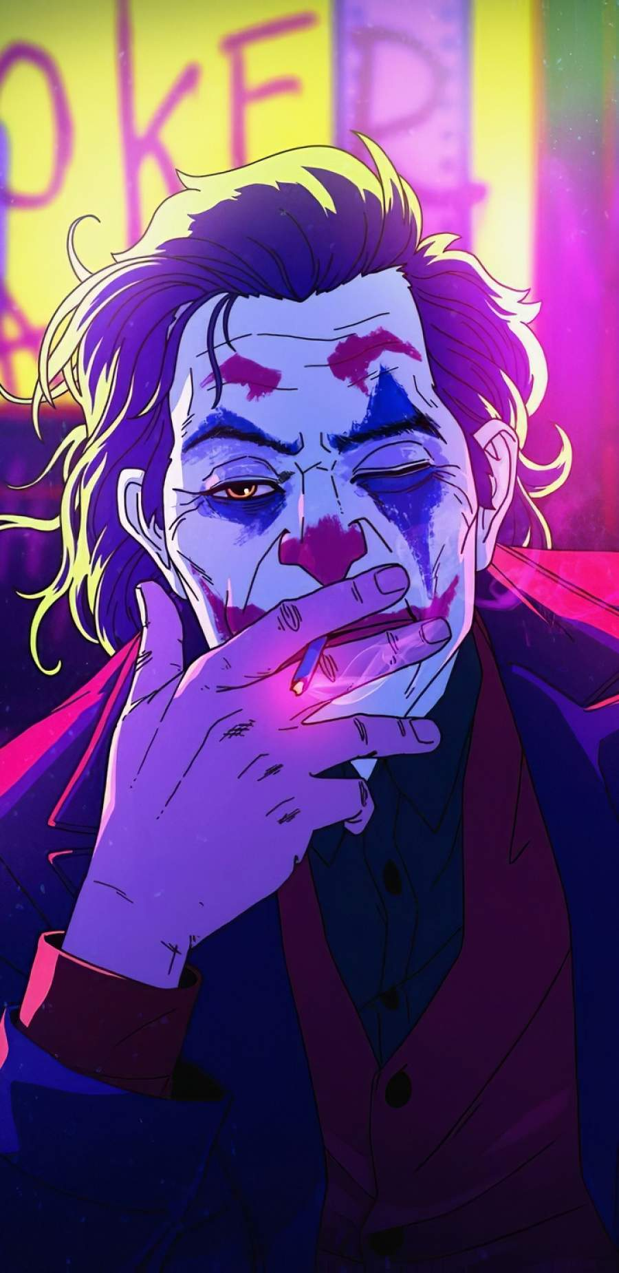 Joker Neonic Art iPhone Wallpaper