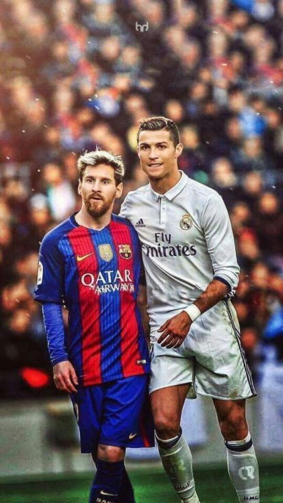 Messi and Ronaldo Together iPhone Wallpaper