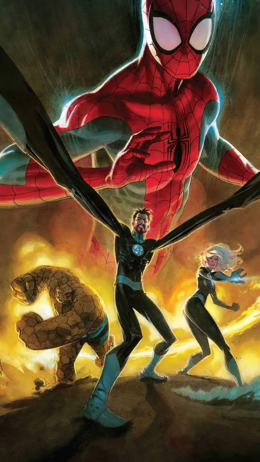 Spiderman with Fantastic Four iPhone Wallpaper