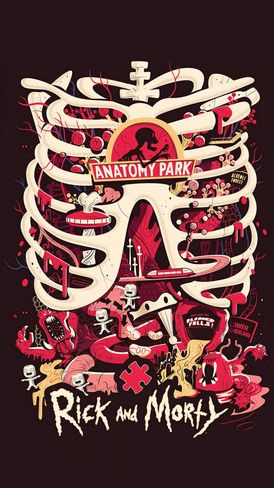 Anatomy Park Rick and Morty iPhone Wallpaper