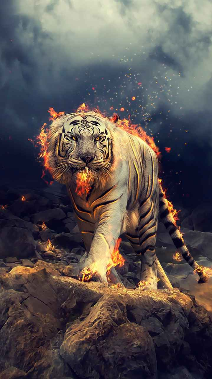 Angry raging white tiger iPhone Wallpaper