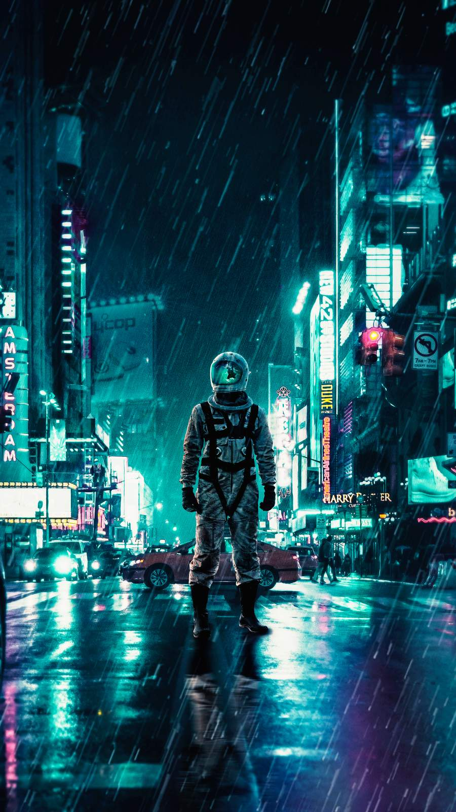 Another Rainy Night Astronaut iPhone Wallpaper