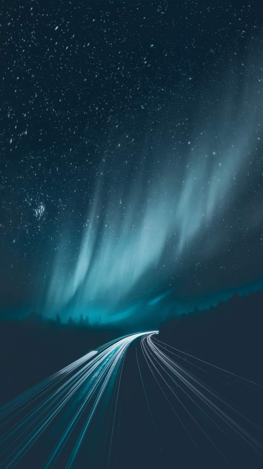 Aurora Borealis Road iPhone Wallpaper