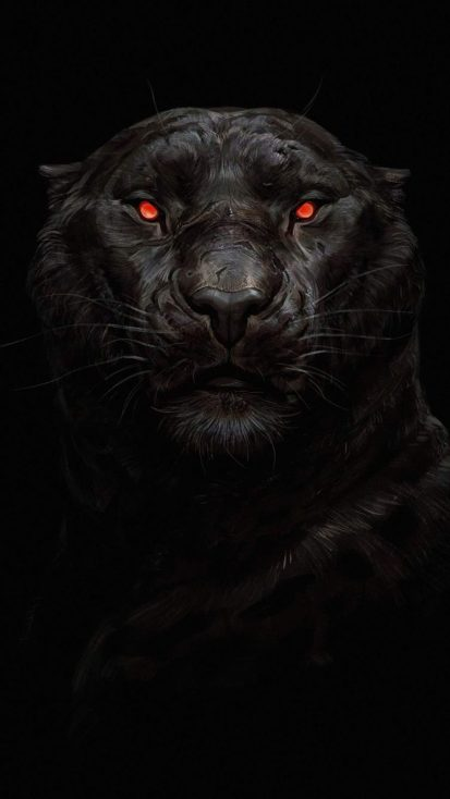 Black Panther Glowing Eye iPhone Wallpaper