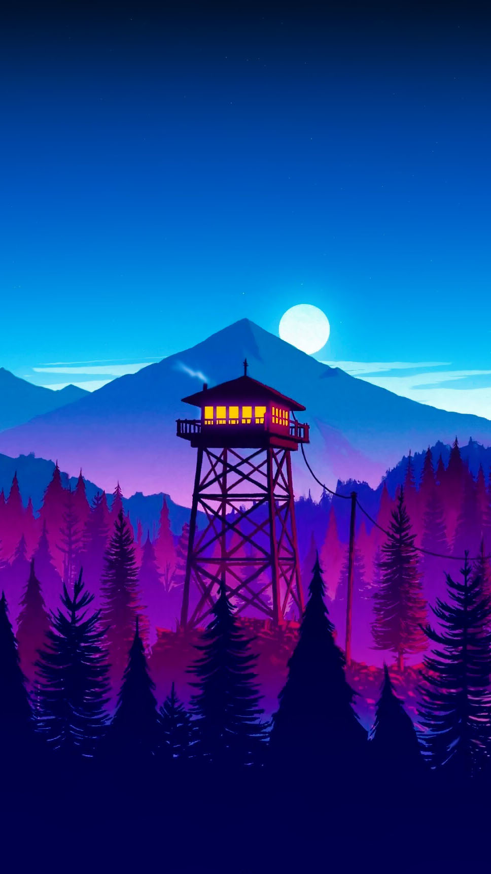 Cabin in Forest Firewatch iPhone Wallpaper