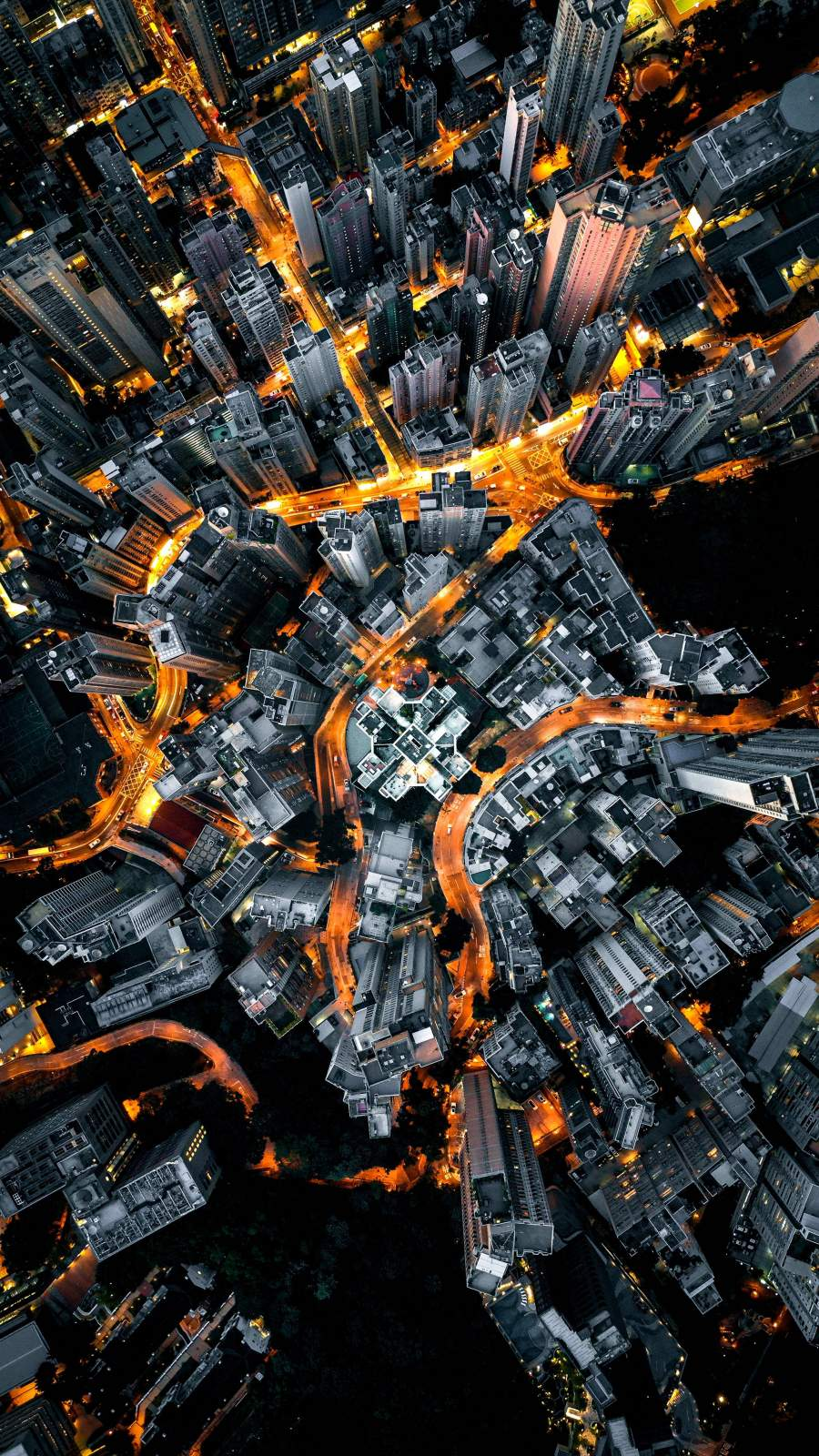 City Lights Aerial View iPhone Wallpaper