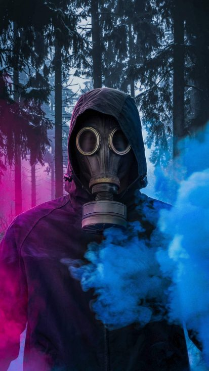 Colored Smoke Gas Mask iPhone Wallpaper