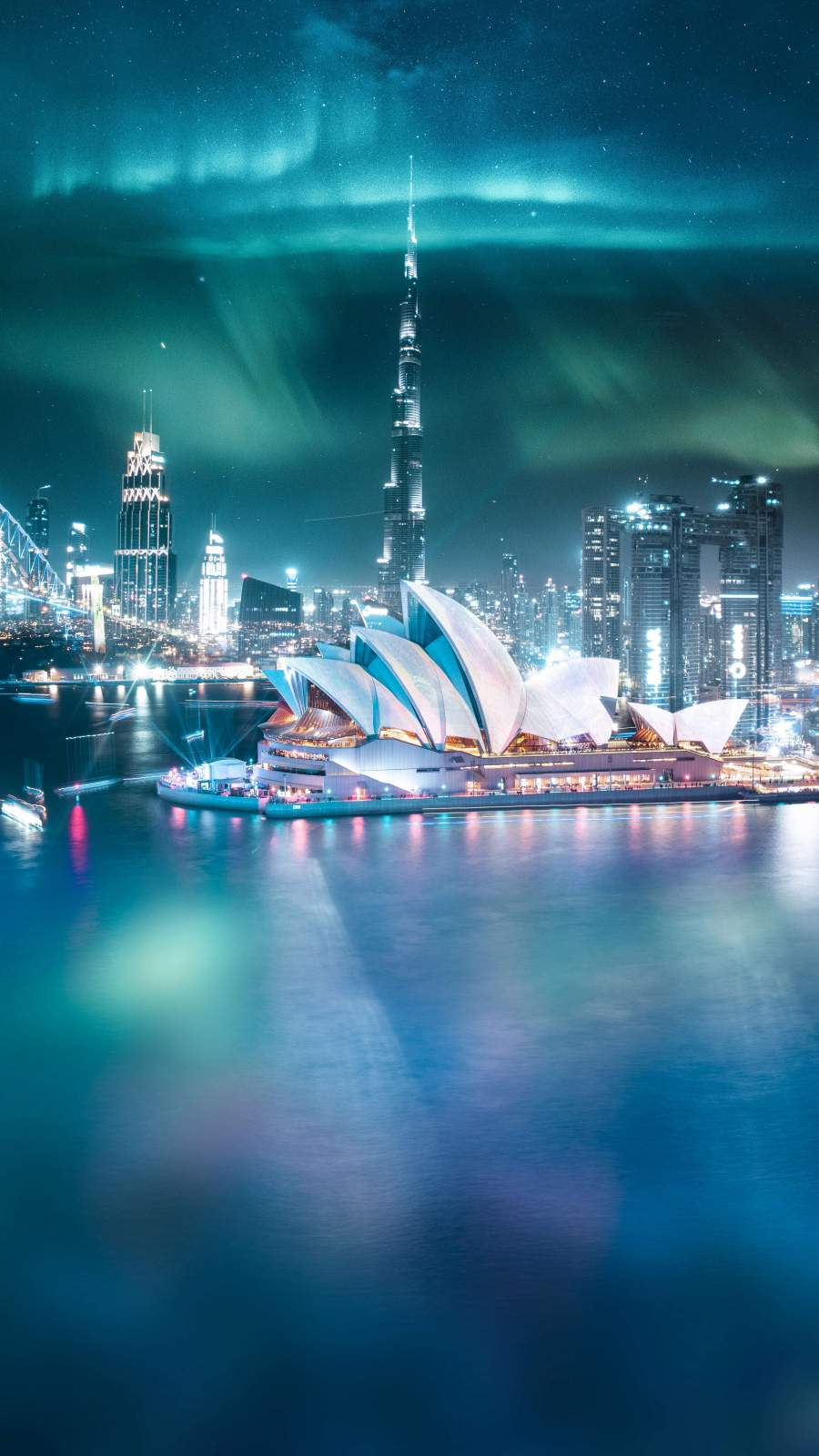 Dubai and Sydney Crossover iPhone Wallpaper