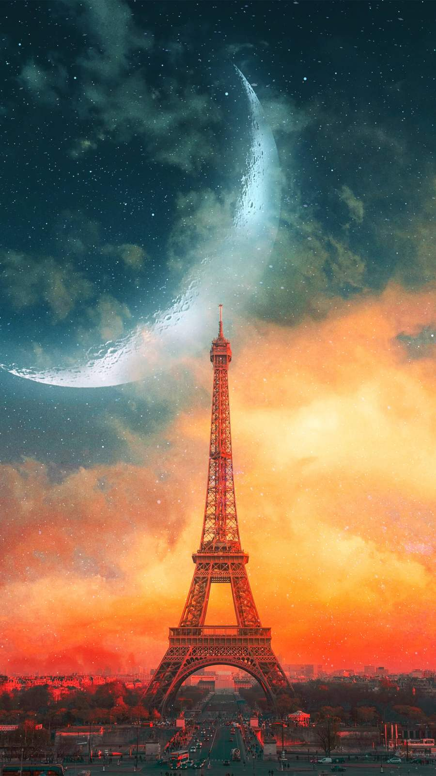 Eiffel Tower and Moon iPhone Wallpaper