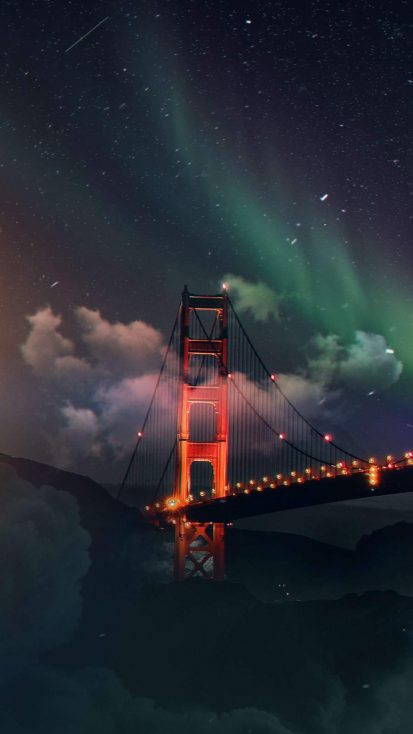 Golden Gate Bridge Northern Lights iPhone Wallpaper