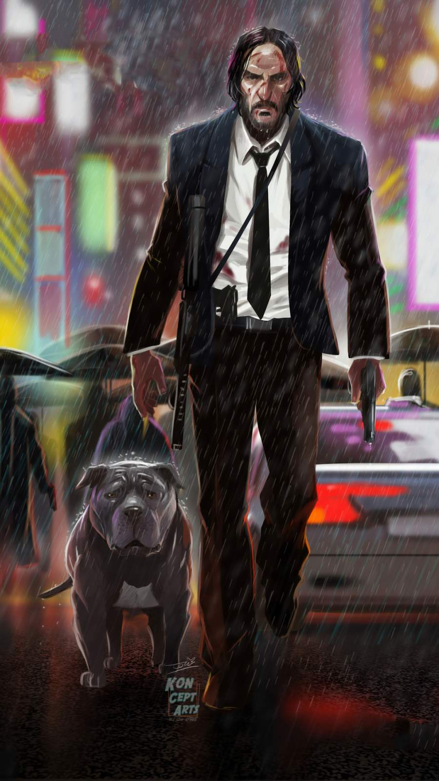 John Wick and Dog iPhone Wallpaper