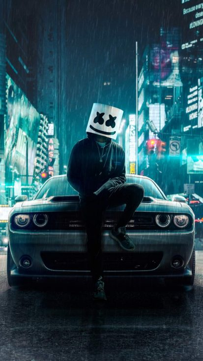 Marshmello Dodge Car iPhone Wallpaper