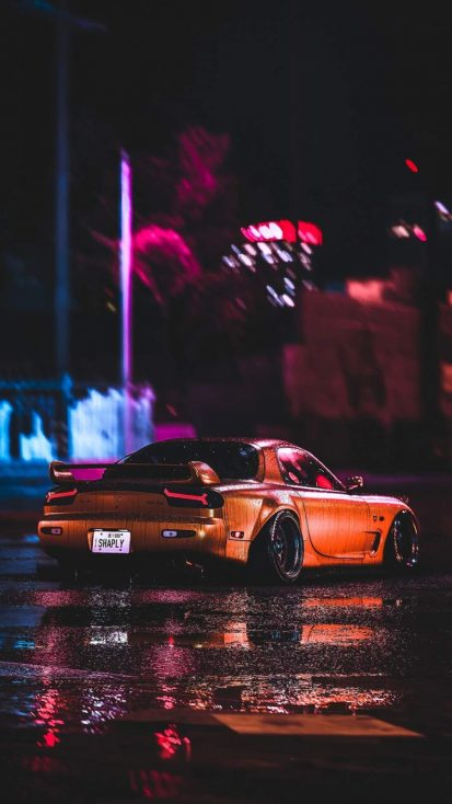 Mazda RX7 Night iPhone Wallpaper