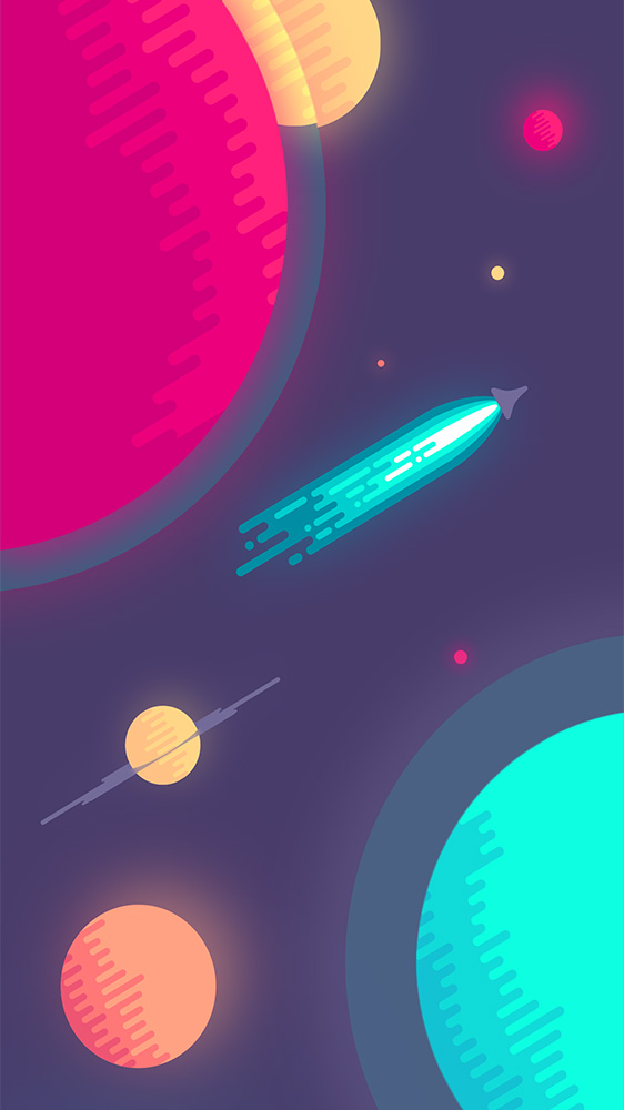 Rocket Ship and Planets iPhone Wallpaper