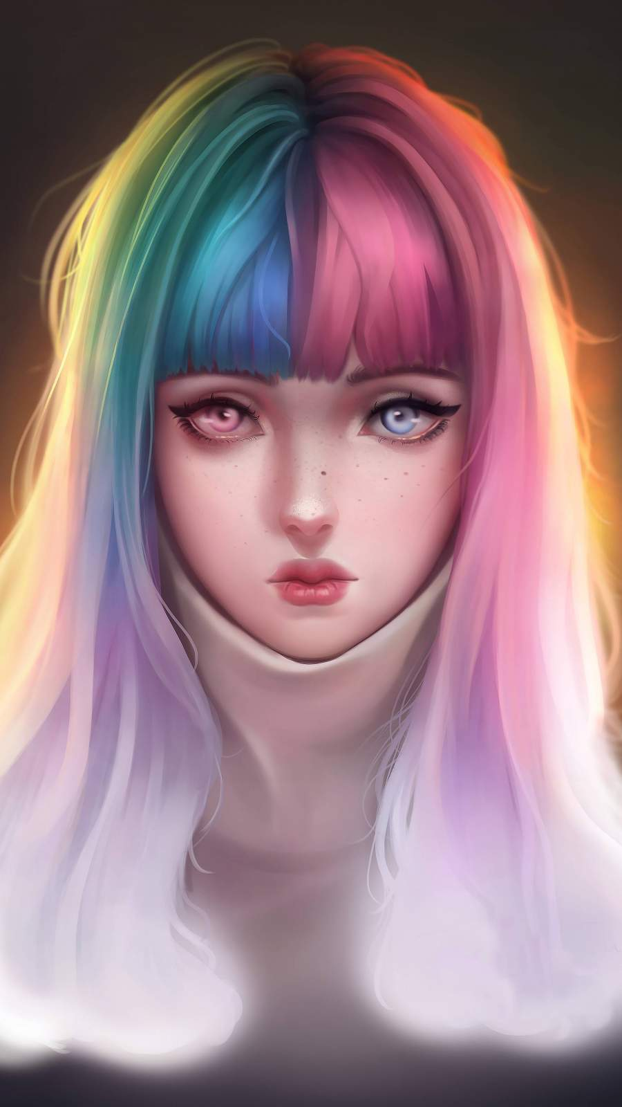 Anime Girl Colorful Hairs iPhone Wallpaper