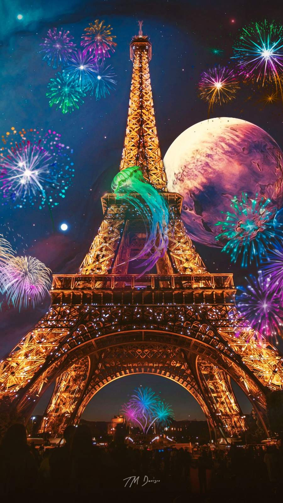 Eiffel Tower Art iPhone Wallpaper