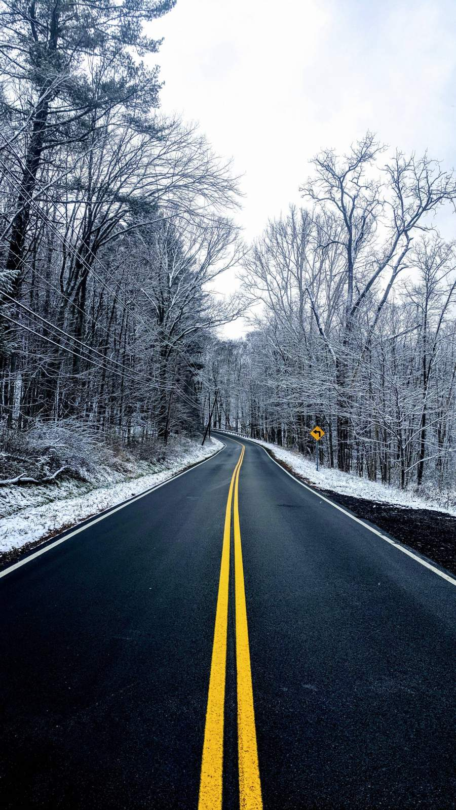 Road Winter iPhone Wallpaper