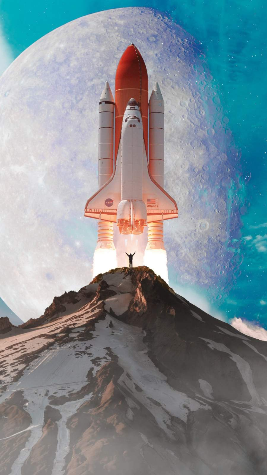 Space Exploration Ship iPhone Wallpaper
