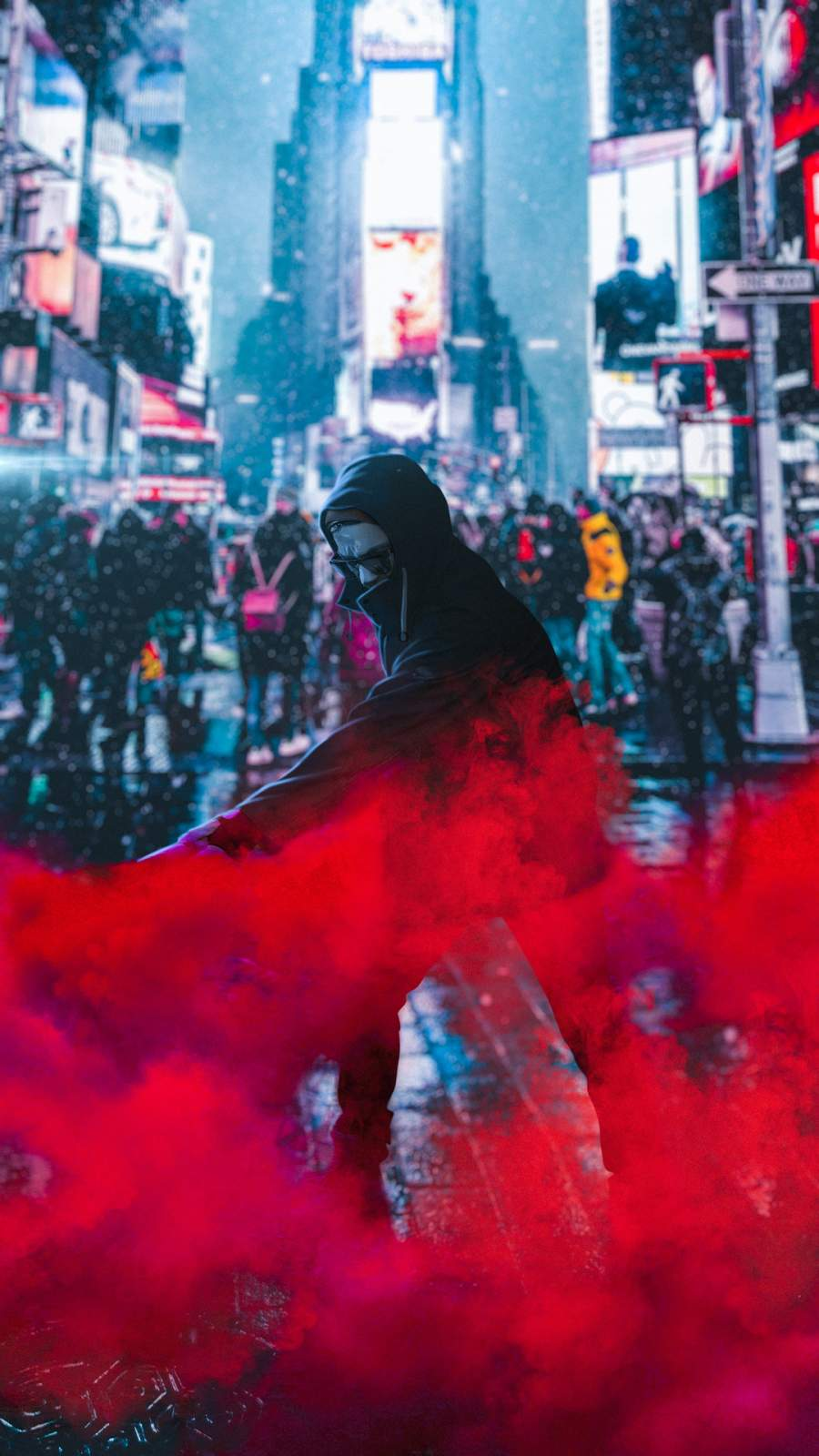 The Protester Red Smoke iPhone Wallpaper