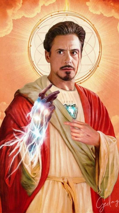 Tony Stark Jesus iPhone Wallpaper