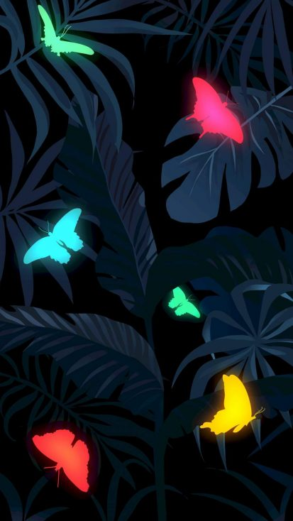 Foliage Butterflies iPhone Wallpaper