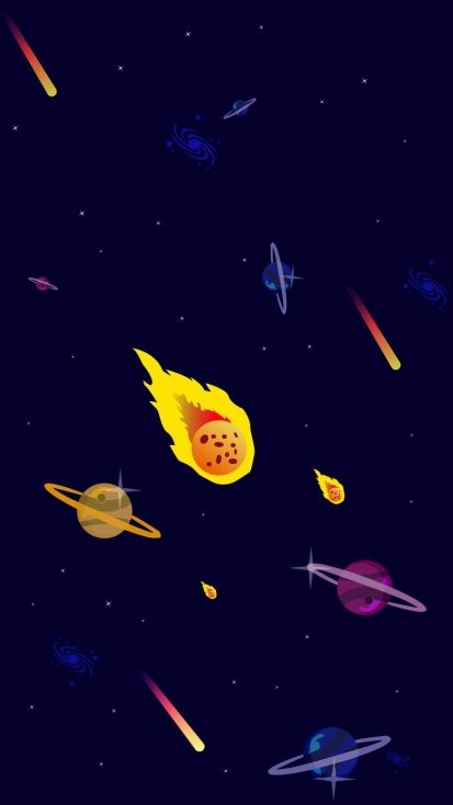 Minimal Space Asteroid iPhone Wallpaper